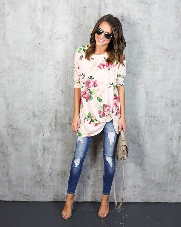 Feminine floral + soft material = your new fave top.