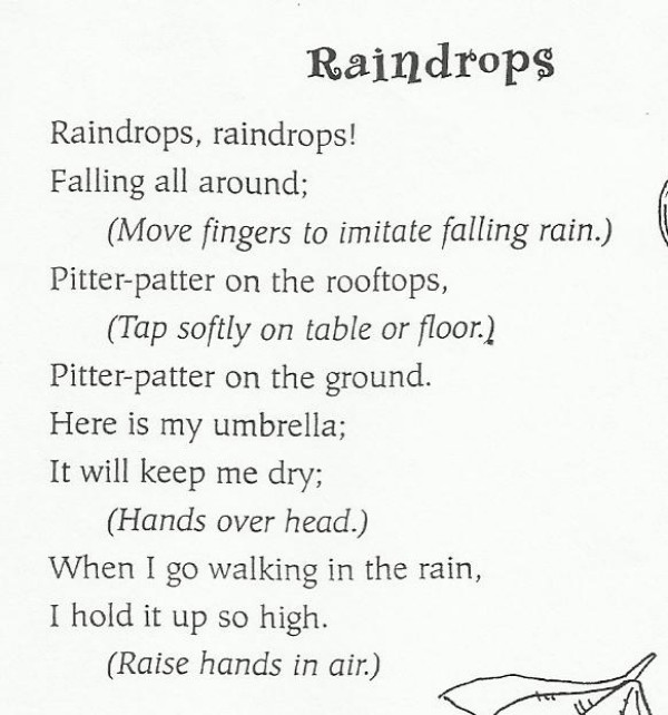 Imitating the falling rain in this song will help develop fine-motor skills.