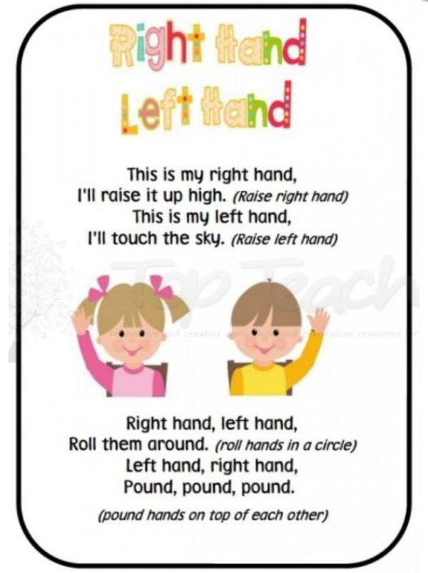 "Teach ""right"" and ""left"" with this gross-motor rhyme."