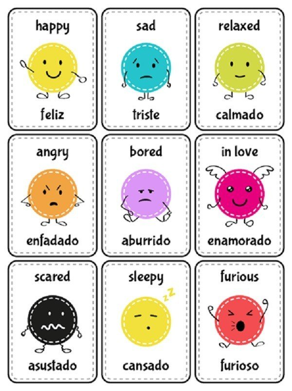 Your child needs to learn their emotions anyway; why not teach them the Spanish versions, too?