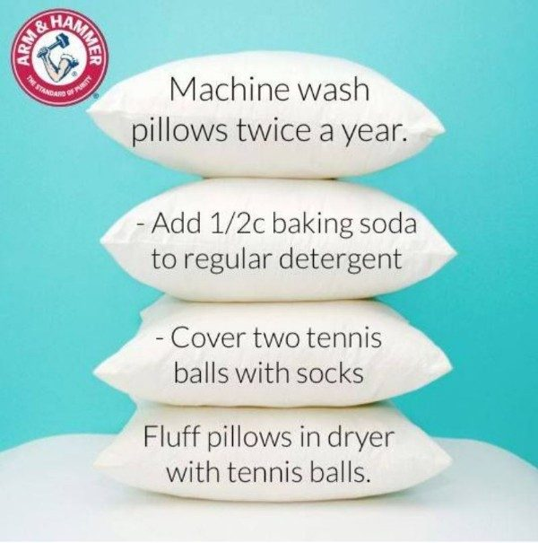 You rest your head on your pillows every night - they NEED a good cleaning. Thankfully it's as easy as throwing them in your washing machine.