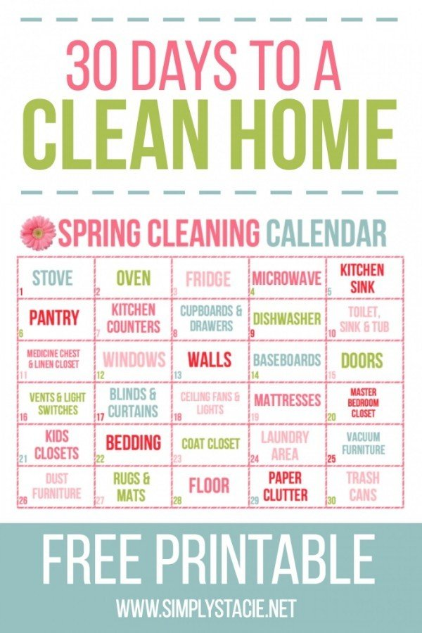 If the idea of spring cleaning overwhelms you, just tackle one thing a day. You'll be done in a month.