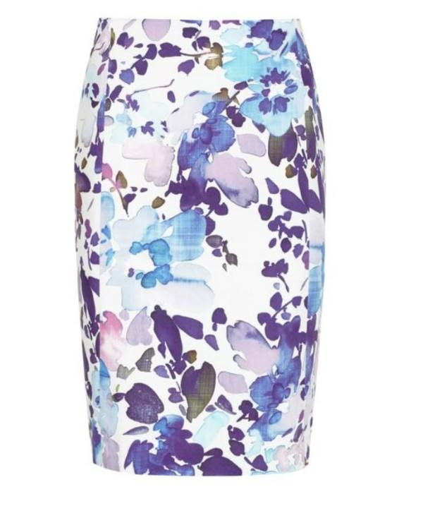 Headed to the office? Take this printed pencil skirt with you.