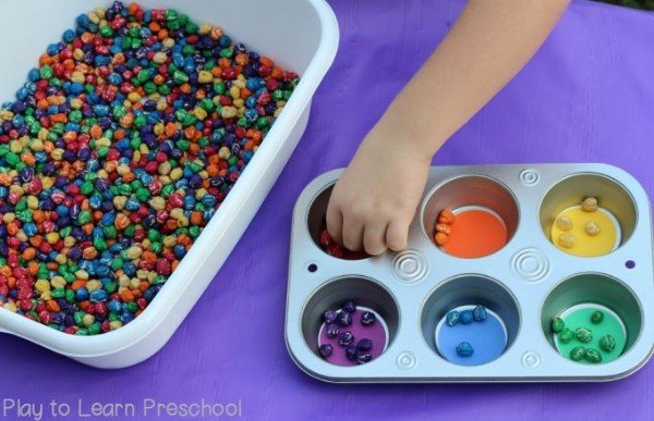 Perfect for colored cereals and candy, but also for paper clips, hair elastics, broken crayons, etc.  Try incentivizing the activity with a reward when it is complete.