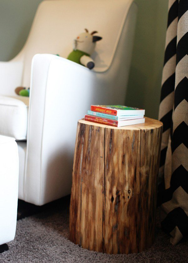 No need to buy a side table when you can just bring in a giant round of wood. You can't get much more natural than this!