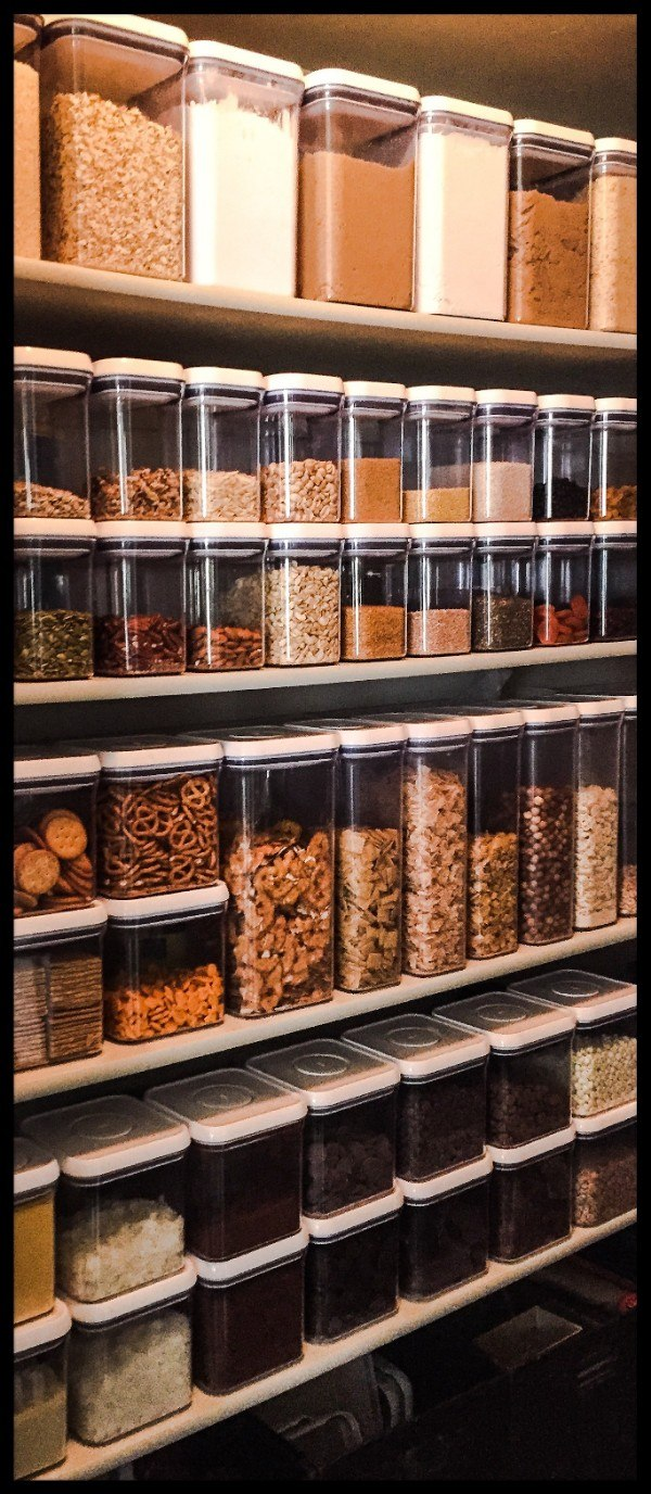 Consider square or rectangular containers over cylindrical ones. They're more easily stackable and more space-efficient.