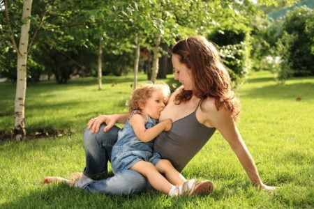 Woman Breastfeeding Her Toddler in the Park