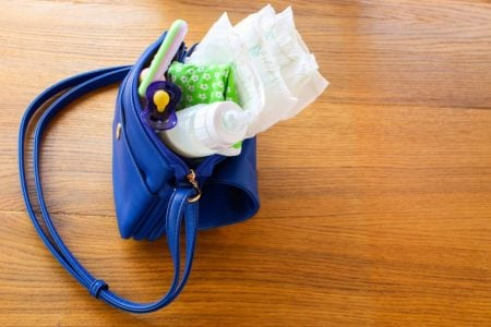 A dirty diaper bag that needs to be cleaned