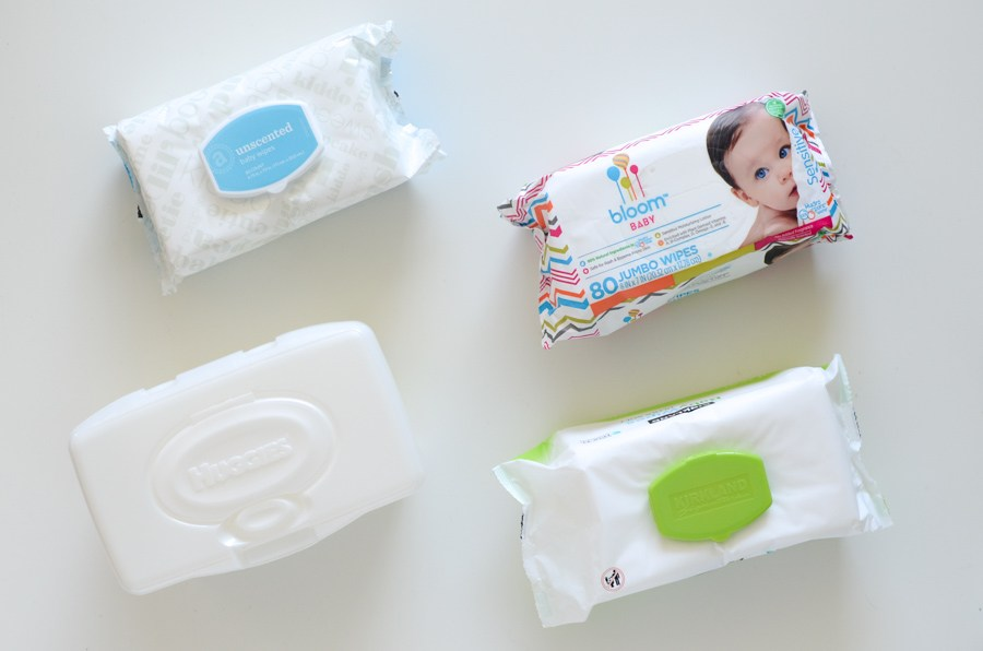 4 different packages of baby wipes
