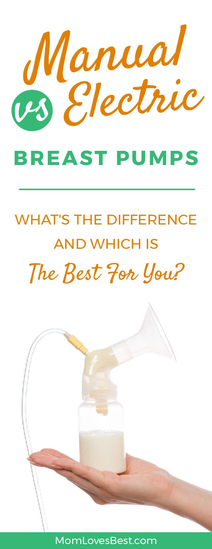You know you want to breastfeed, but you aren't sure what type of breast pump you need – manual or electric. Before you can decide which type to buy, you need to figure out how often you'll be using it. The manual vs electric breast pump question requires careful consideration of several factors. Click here to learn if you should choose a manual, or an electric breast pump: https://momlovesbest.com/feeding/breast-pumps/manual-vs-electric #breastfeeding #BreastPump #momlife #motherhood