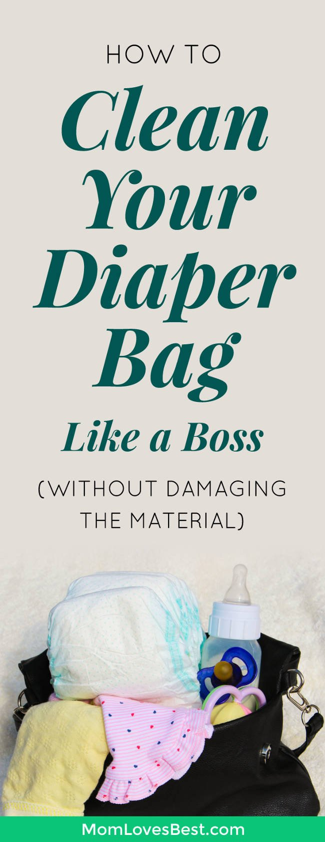 I just took out my diaper bag the other day, and there was a banana stain on the front of it, spit up on the bottom, and an old cheerio in the side pocket. I thought to myself, #momlife. Click here to learn how to safely clean and remove stains from your diaper bag without ruining the material! #baby #motherhood #diaperbag #parentingtips