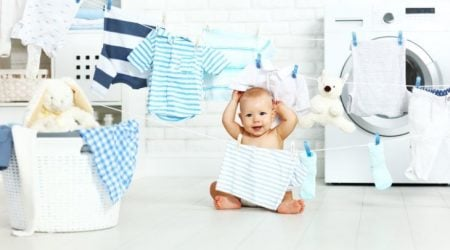 Basket of cloth diaper laundry