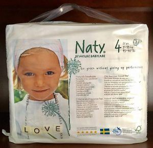 Front Side of Naty Eco Diapers Packaging
