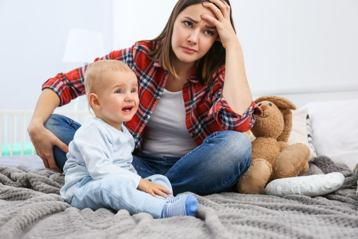 Stressed mother with post weaning depression