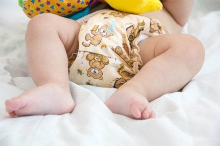 Baby wearing a cloth diaper