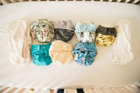 A variety of cloth diapers