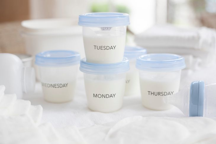 expressed breast milk in storage containers