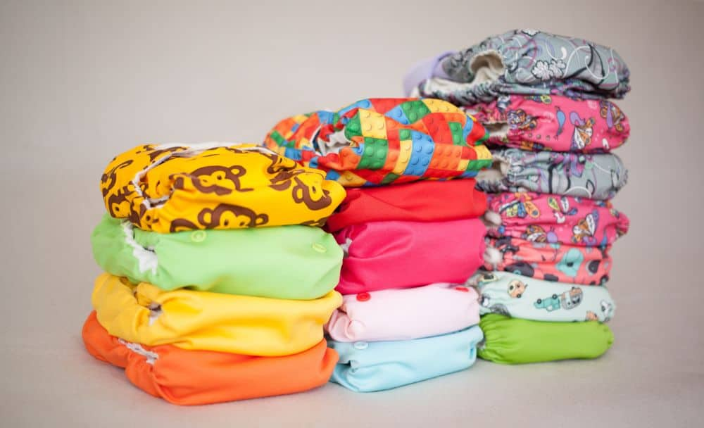 A pile of new prepared cloth diapers