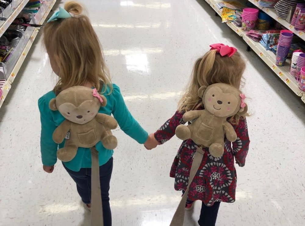 Two toddler girls wearing backpack safety leashes