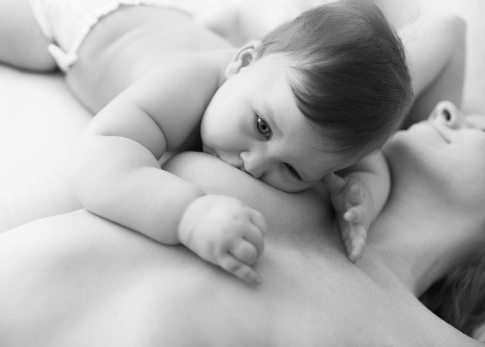 Close up of breastfeeding baby