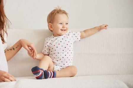 Smiling toddler wearing pajamas