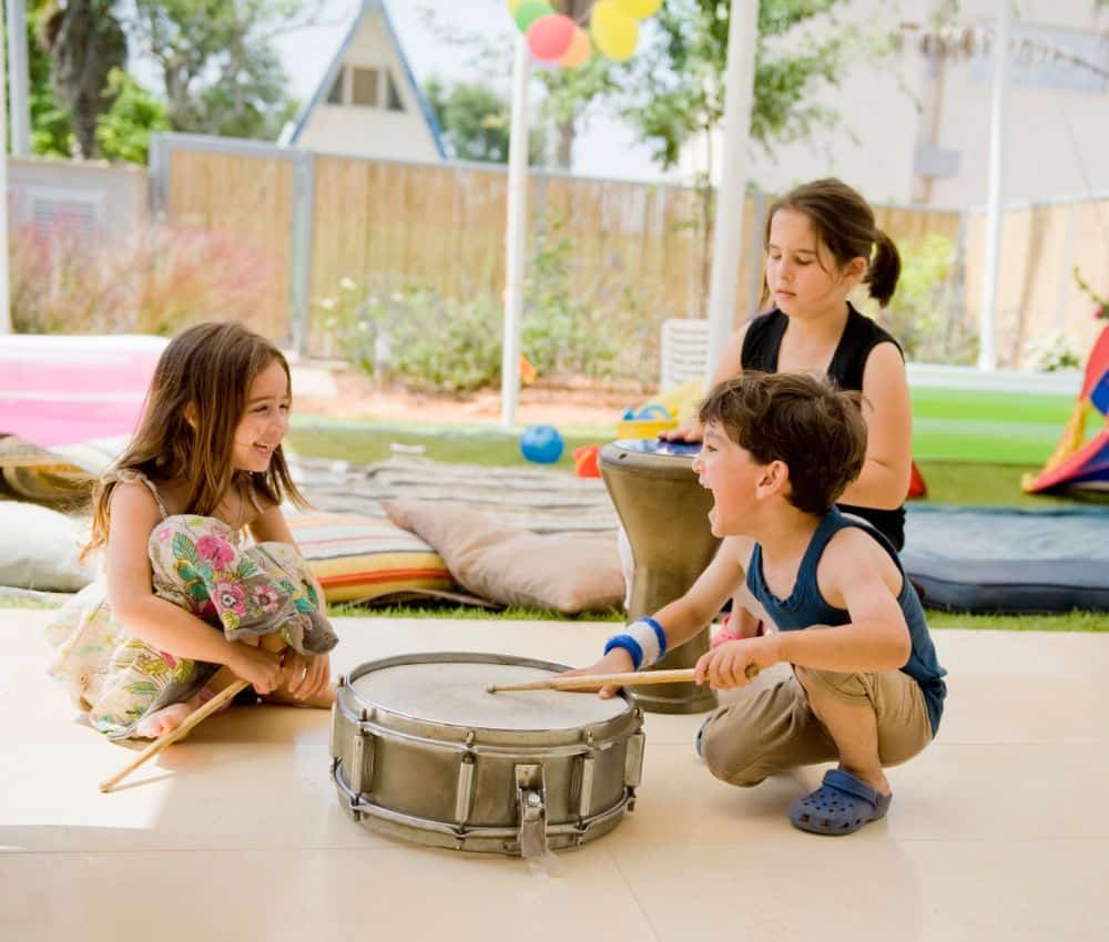 Kids playing drums