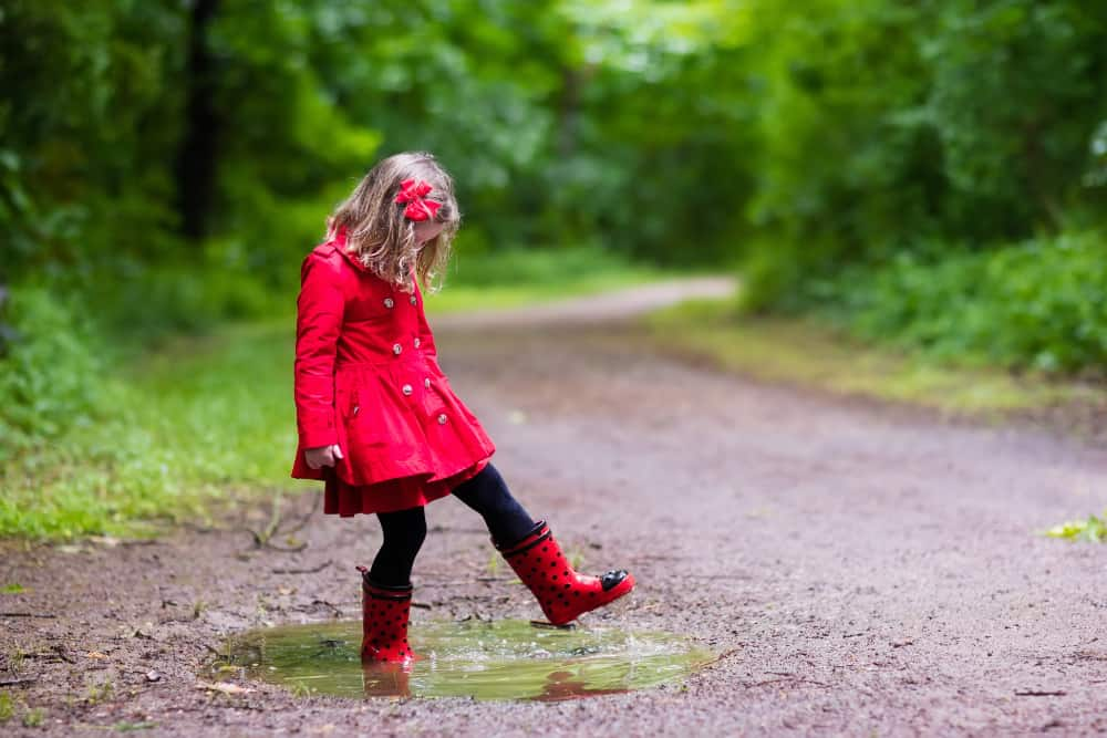 Girl playing in the rain wearing best toddler rain boots