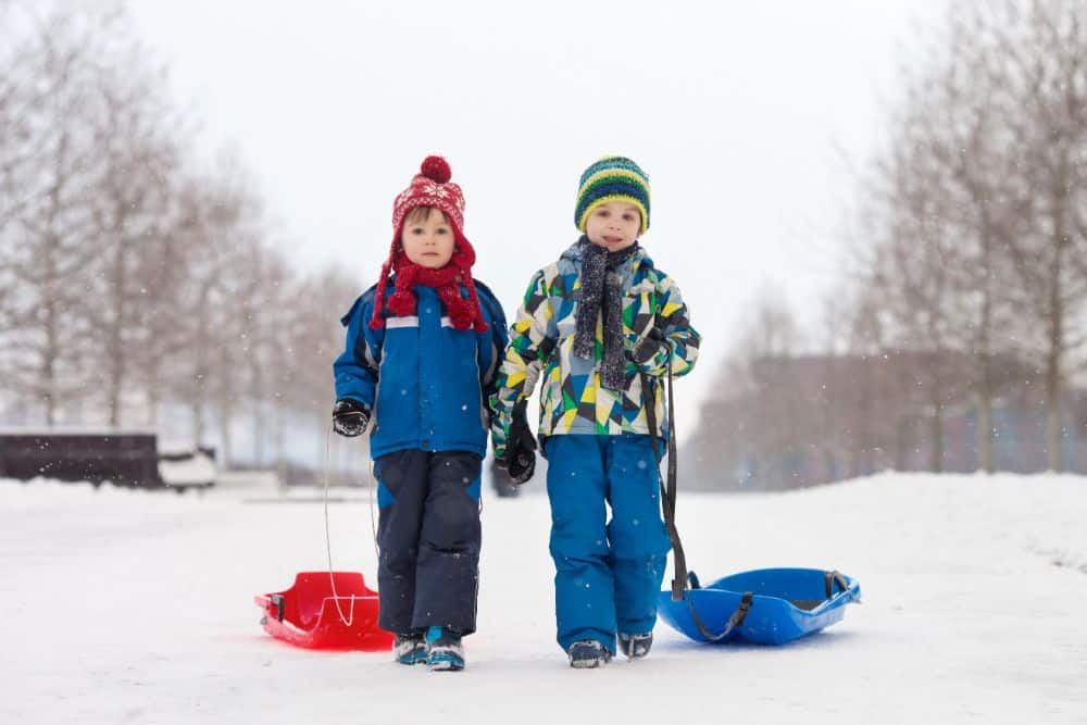 Two little boys pulling sleds in the snow