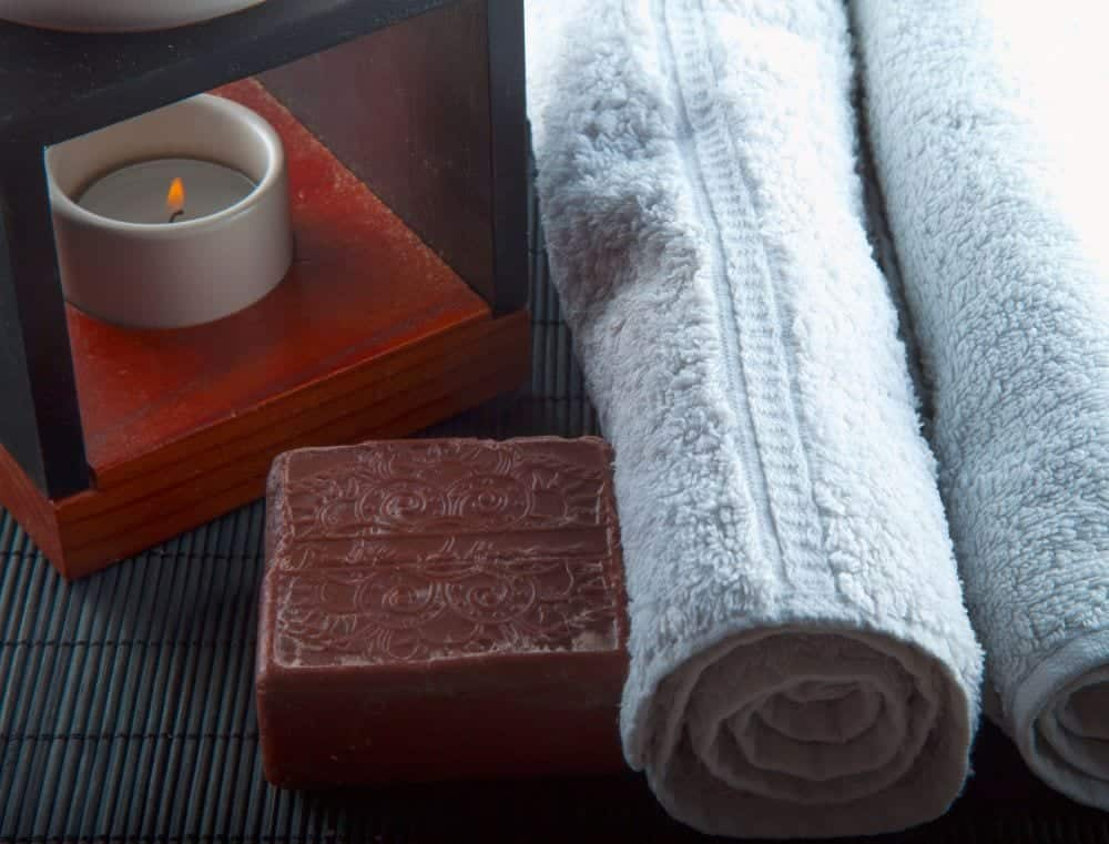 african black soap and bath towels