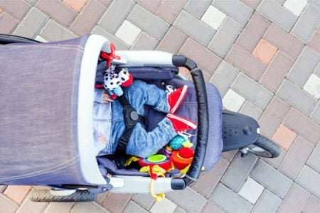 Baby sleeping in a stroller
