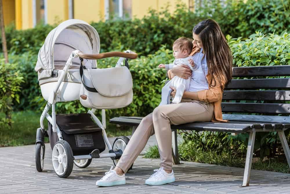 stroller and baby