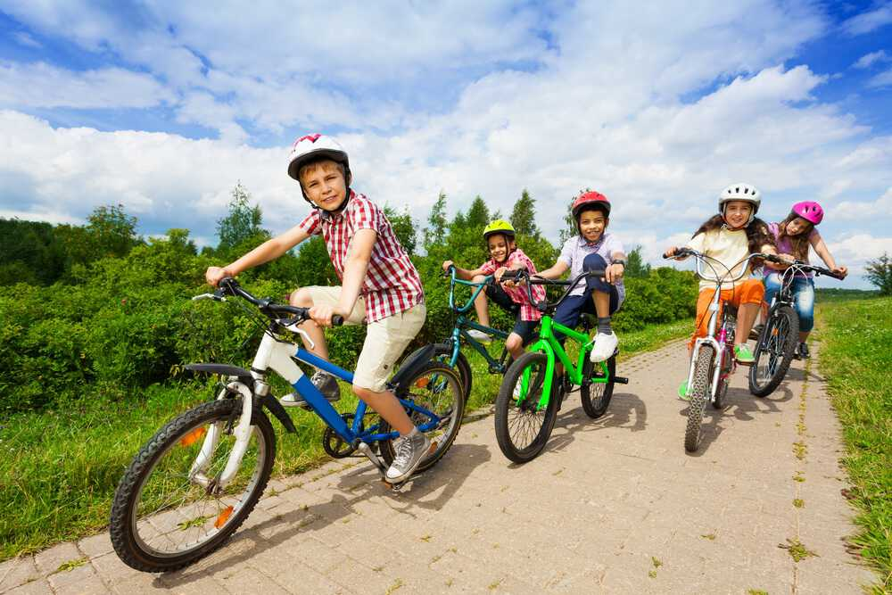 Group of kids riding different bike sizes