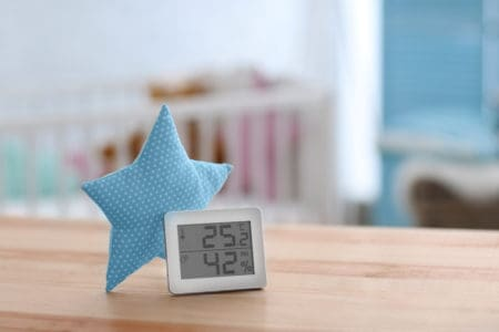A digital baby room thermometer