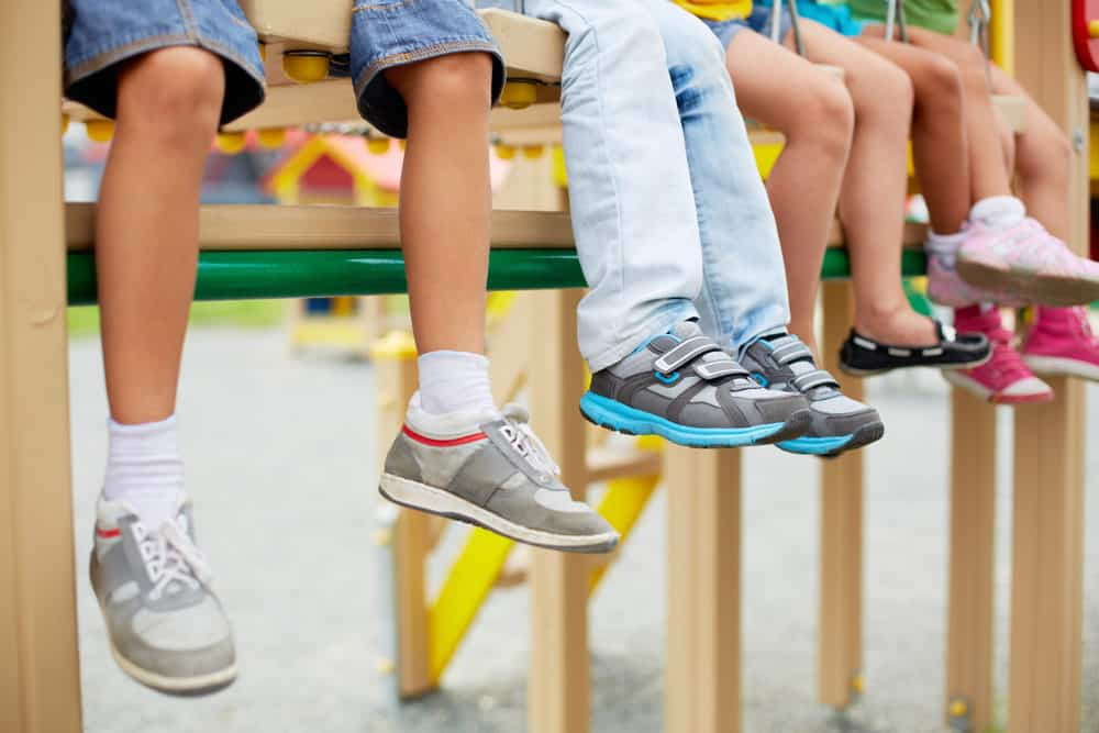 Group of school kids wearing cool shoes