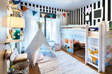 Kid bedroom with loft bed