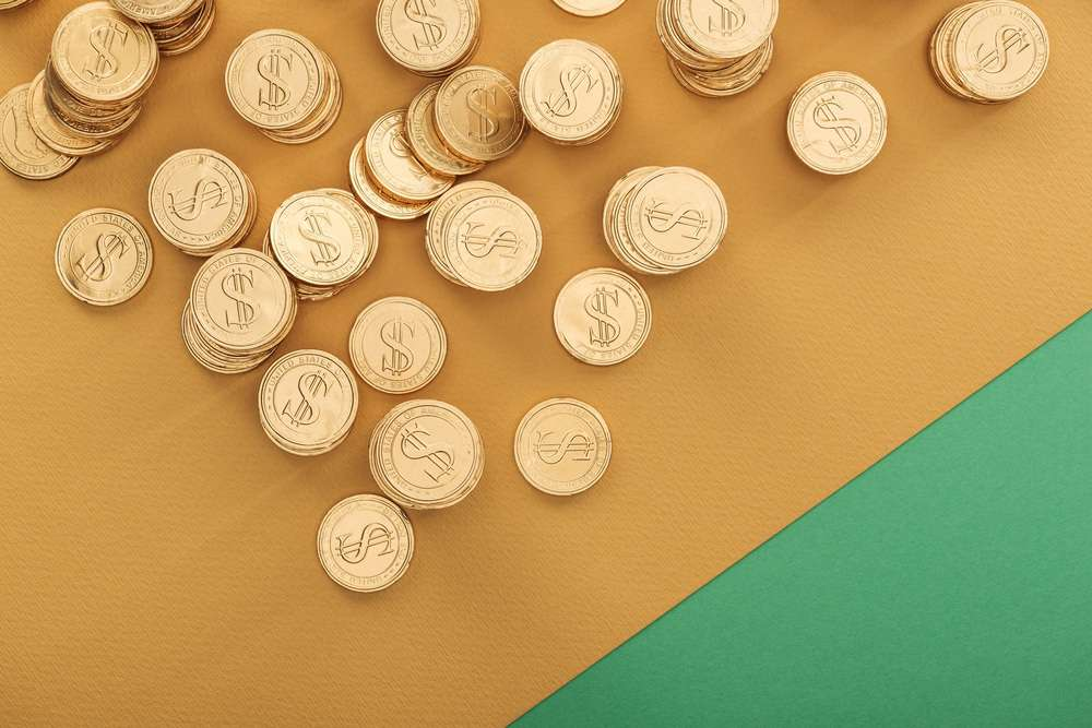 gold coins on a table