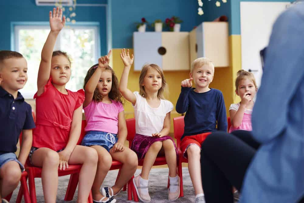 Group of preschool children playing never have I ever