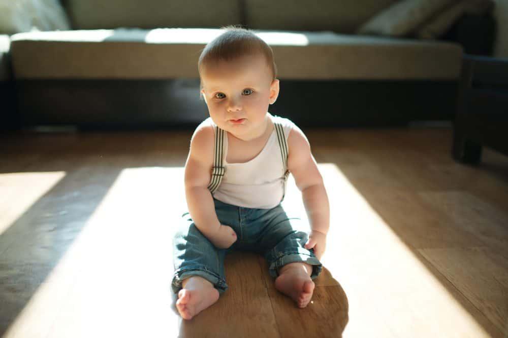 Cute tough-looking baby boy