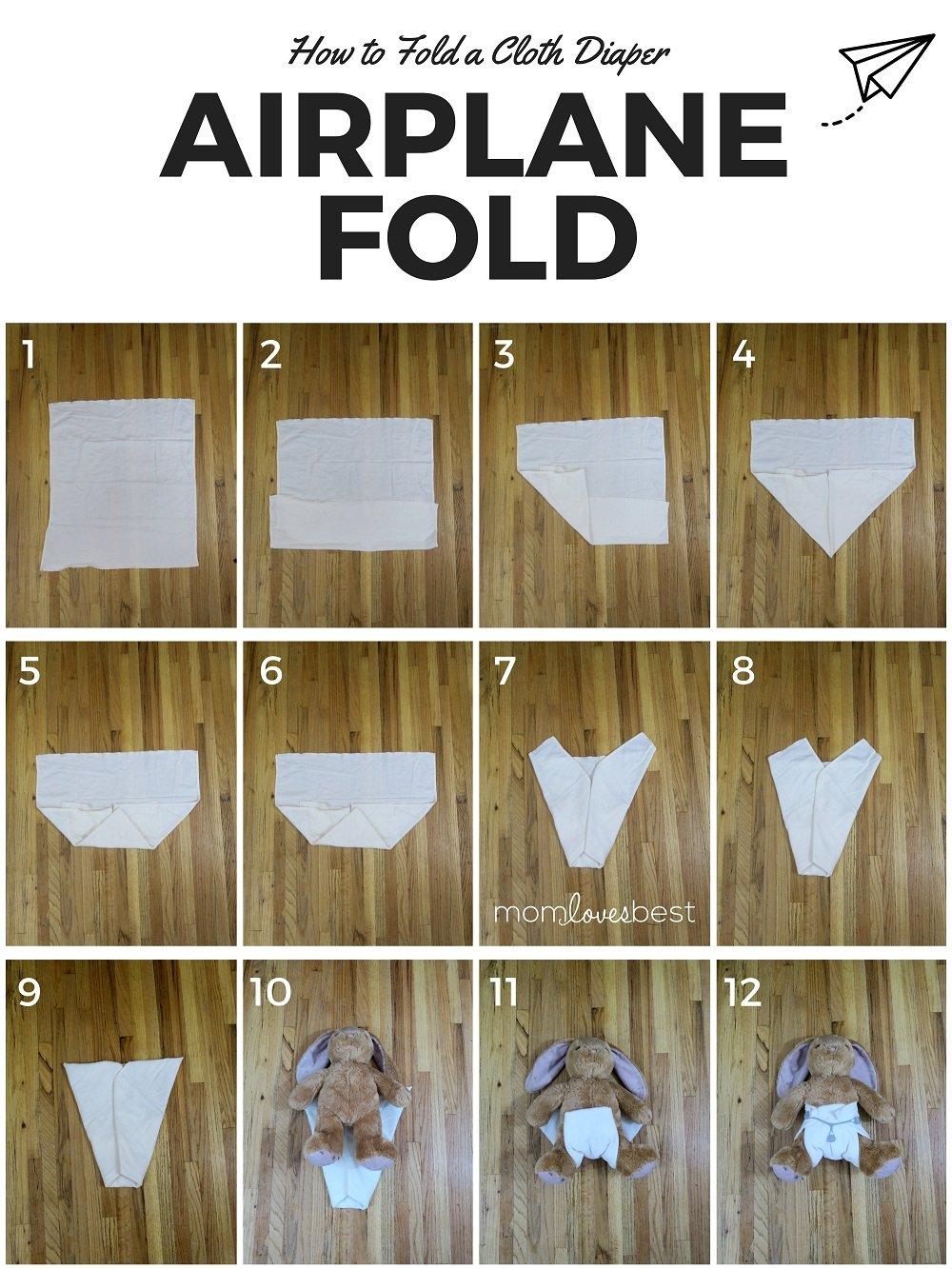 Airplane Fold Cloth Diaper Fold