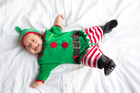 Baby in christmas elf costume
