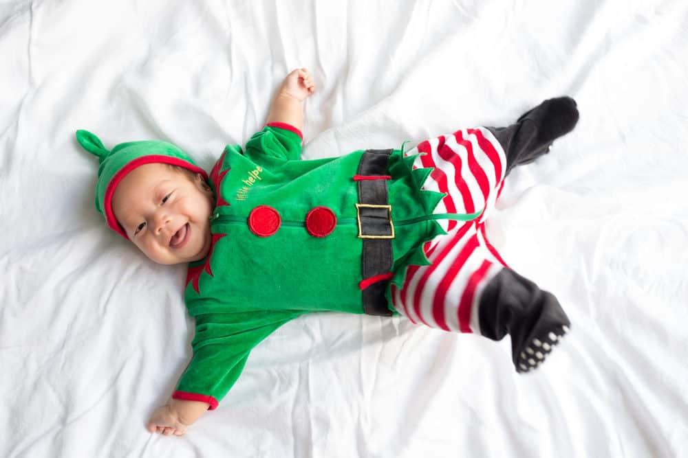 Baby in christmas elf costume