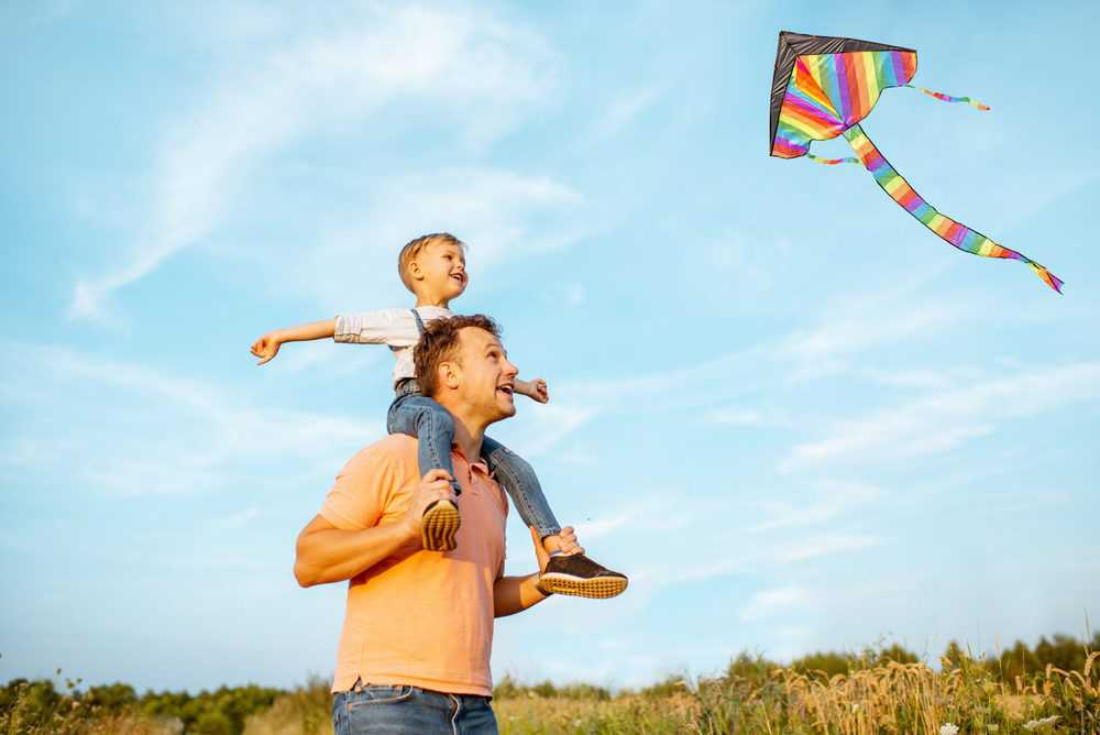 Father and son playing with kite out in the field