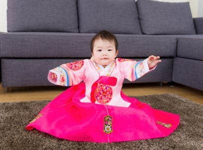 Baby girl wearing korean hanbok
