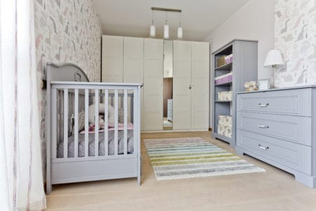 Baby nursery with matching furniture set
