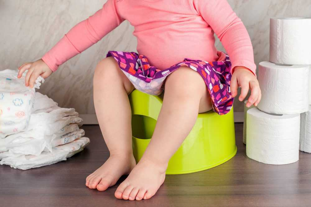 Toddler on a potty training with diapers and tissue rolls