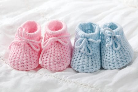 Blue and pink baby booties