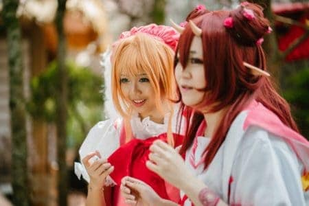 Two girls roleplaying as anime characters